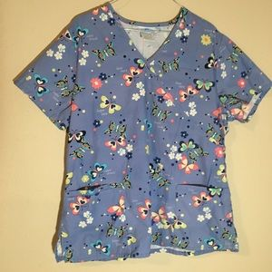 SB Scrubs Blue Butterfly Scrub Top Size Large